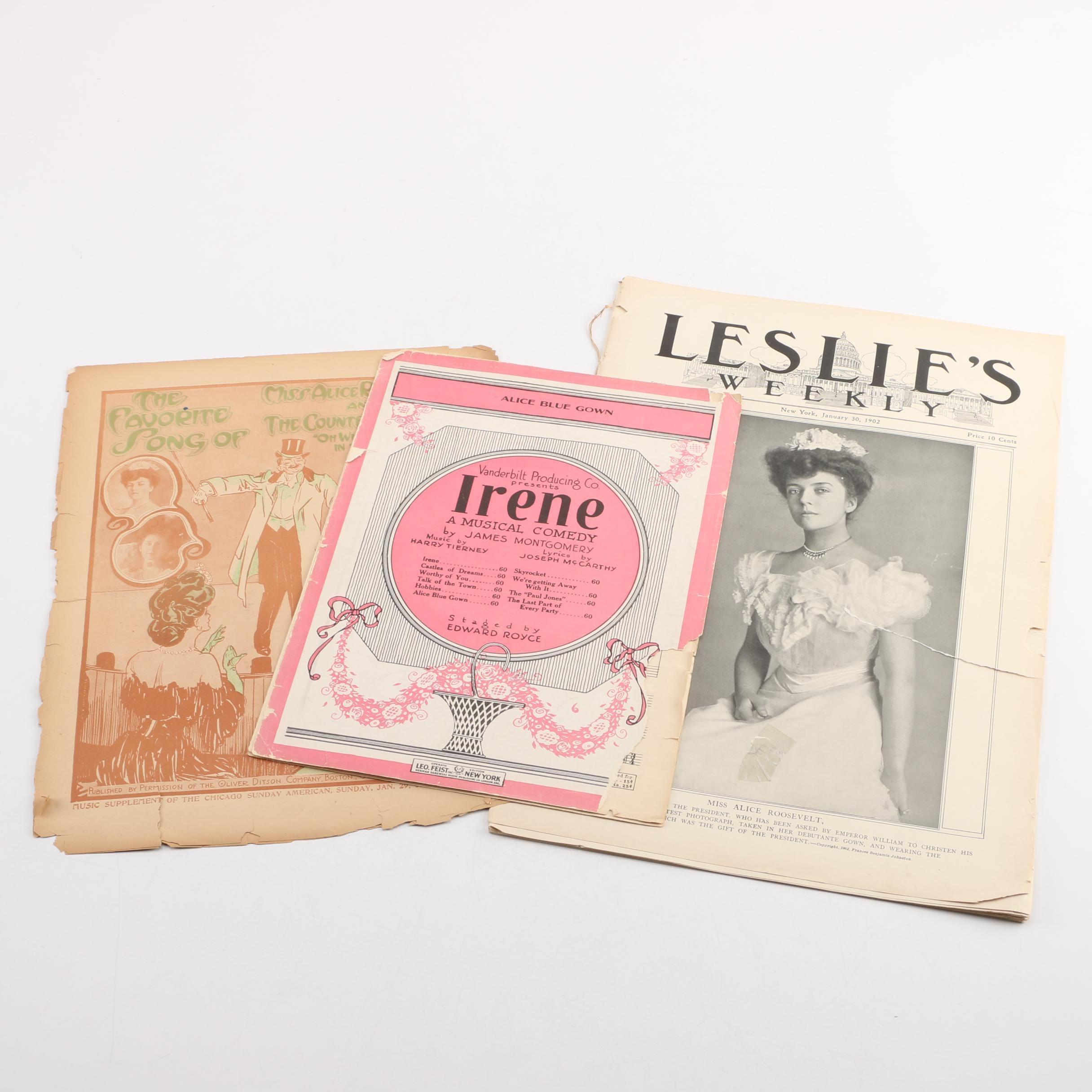 Socialite Alice Roosevelt Longworth Memorabilia and Sheet Music