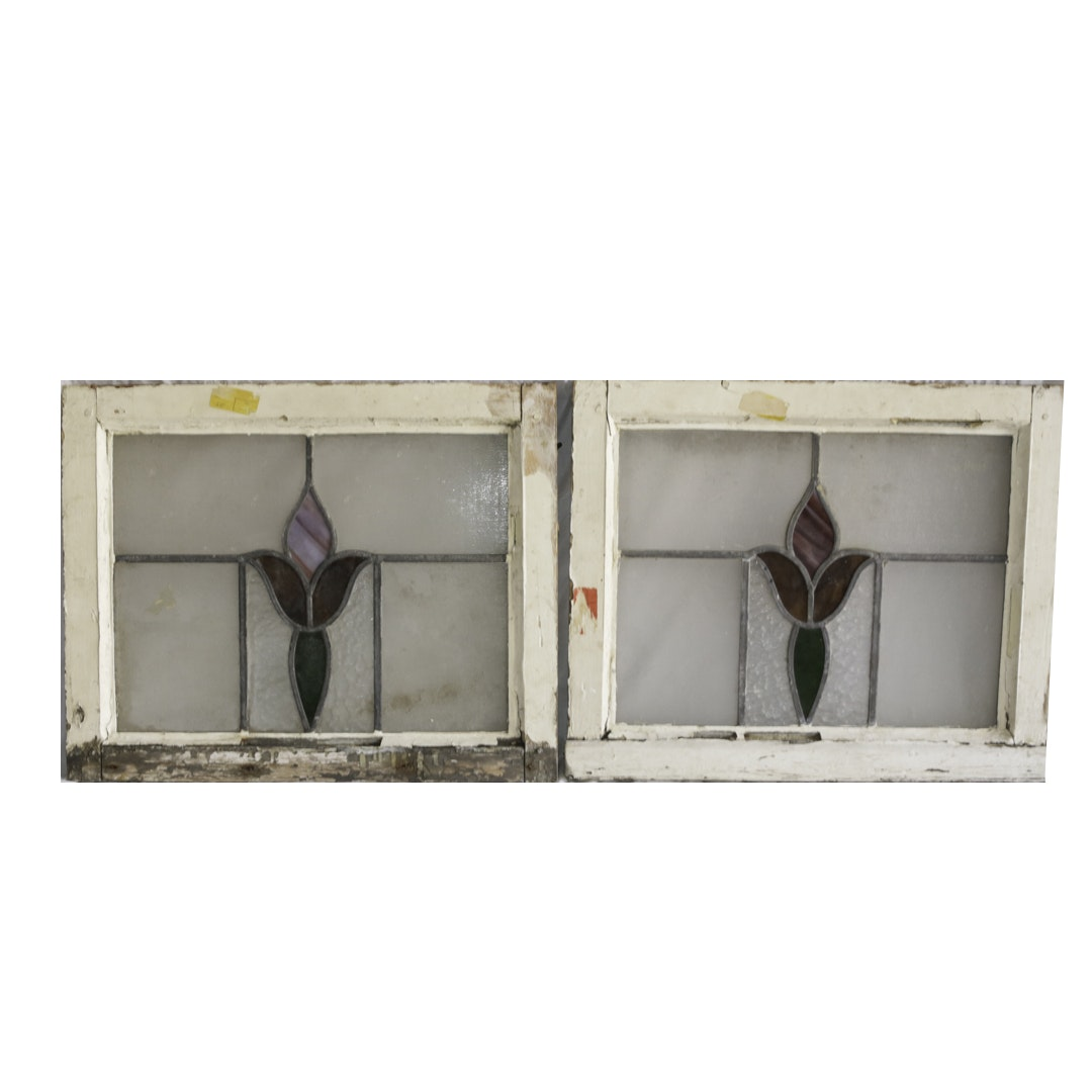 Pair of Vintage Arts and Crafts Style Stained Glass Windows