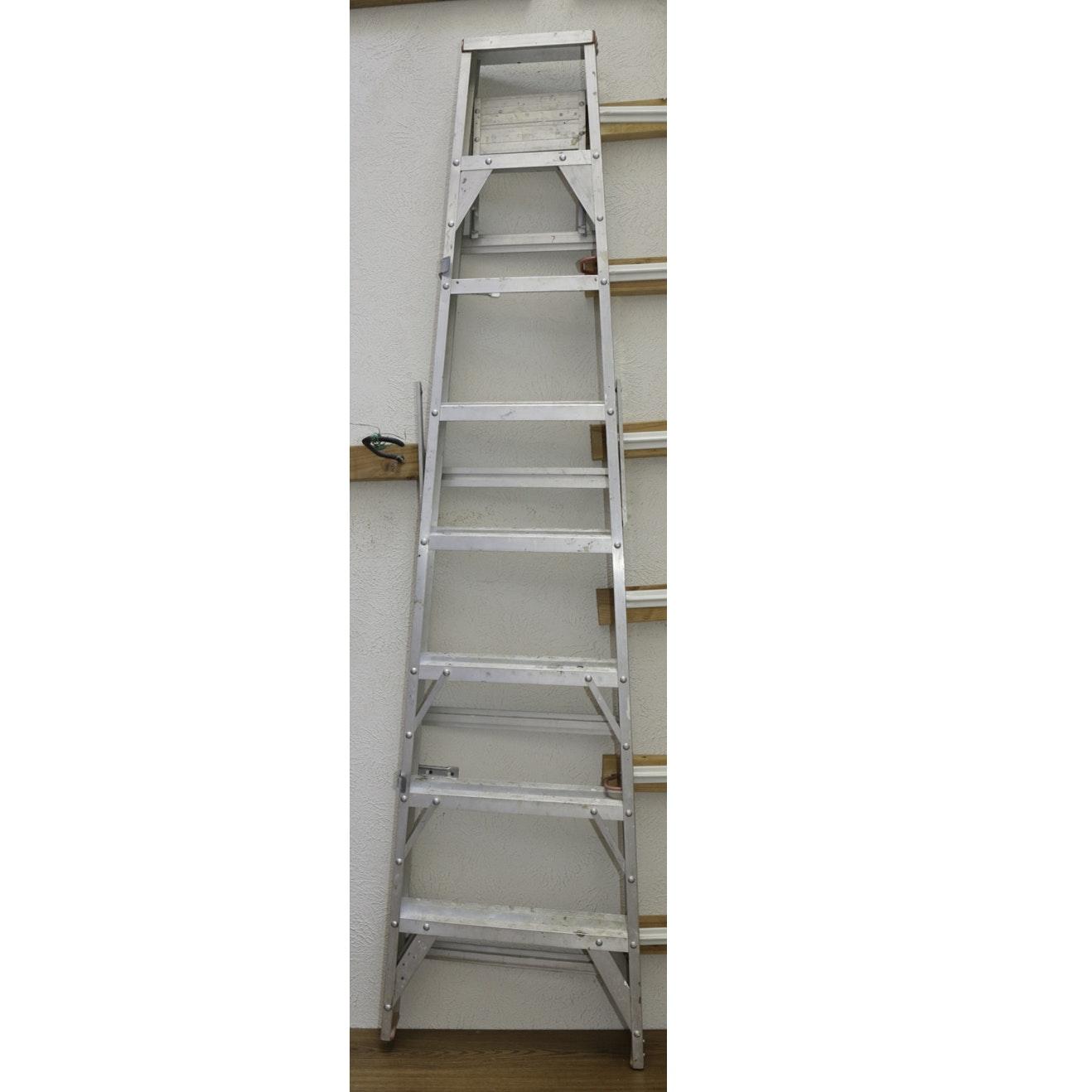 Folding A-Frame Aluminum Ladder with Shelf