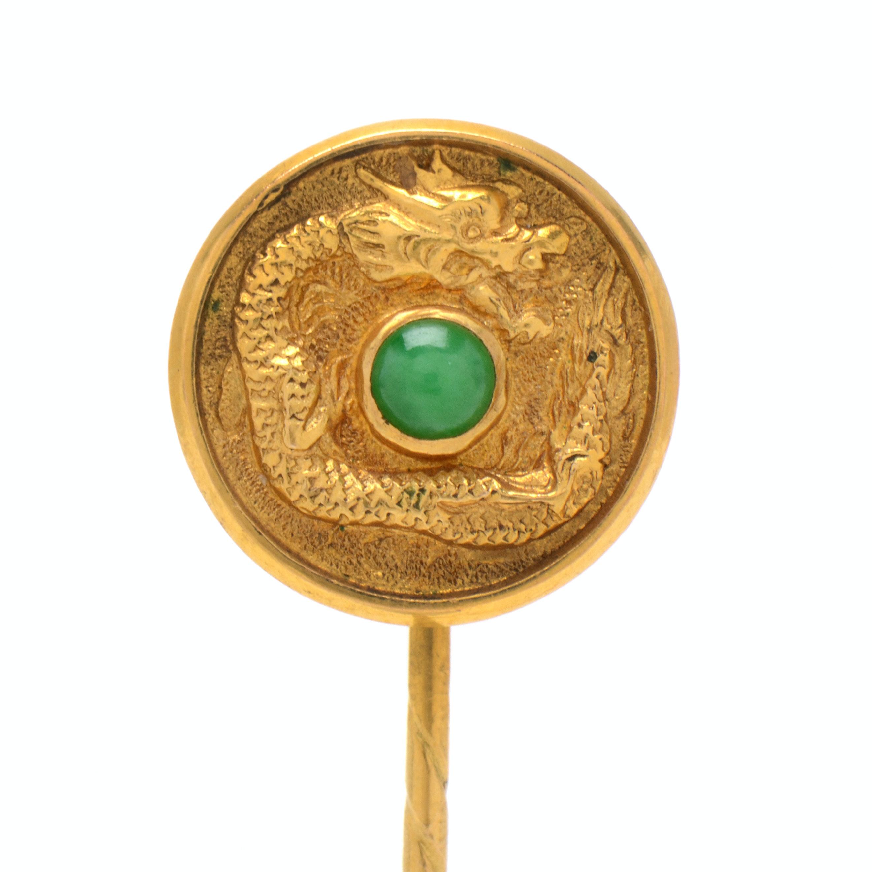 14K Yellow Gold Jadeite Dragon Stick Pin