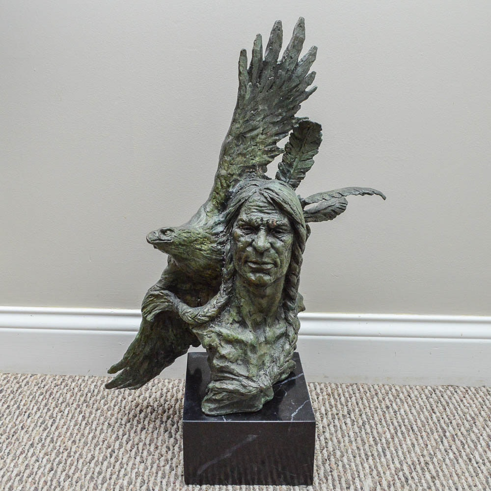 Bronze Sculpture of Native American Inspired Figure and Soaring Eagle