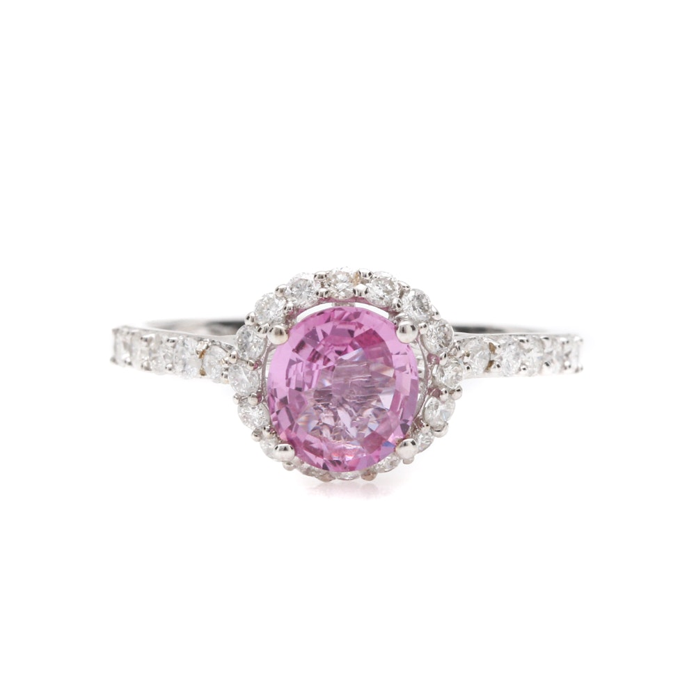 14K White Gold 1.06 CT Pink Sapphire and Diamond Ring