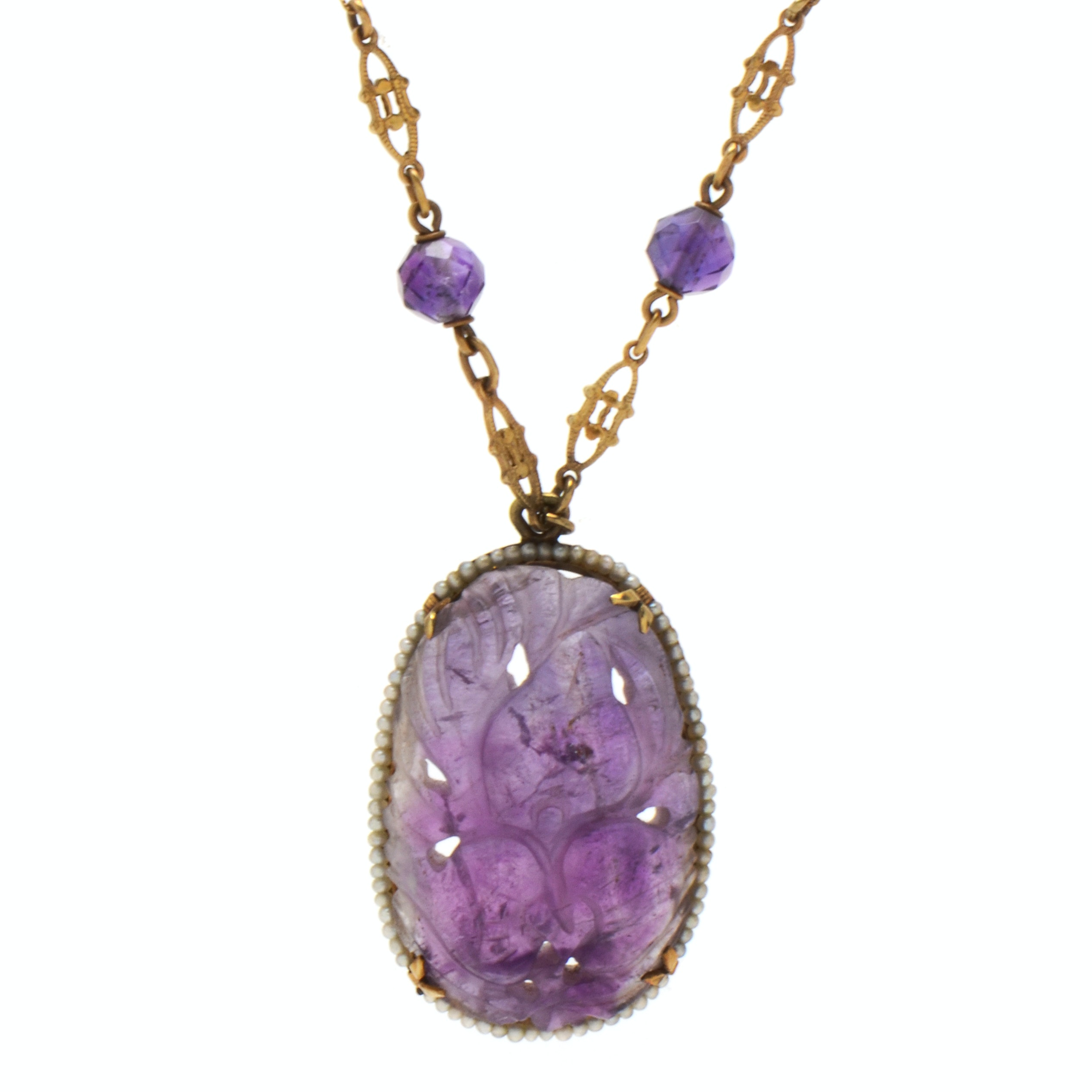 14K Yellow Gold Amethyst and Seed Pearl Pendant Necklace