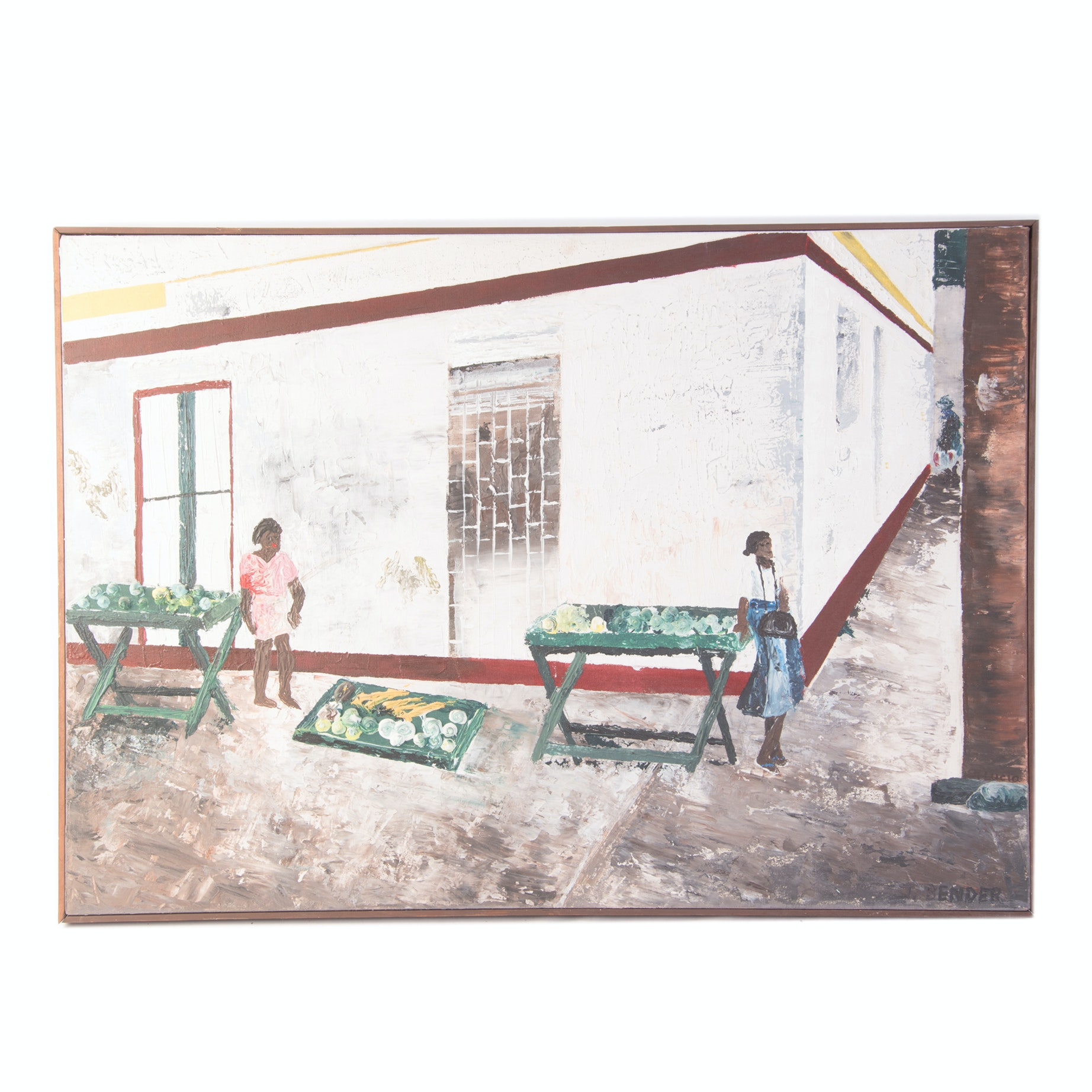 "Julie M. Bender Original Acrylic on Canvas ""The Streets of St. Lucia"""