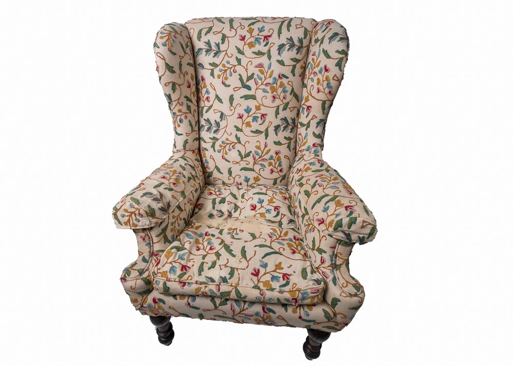 Vintage Upholstered Wingback Armchair