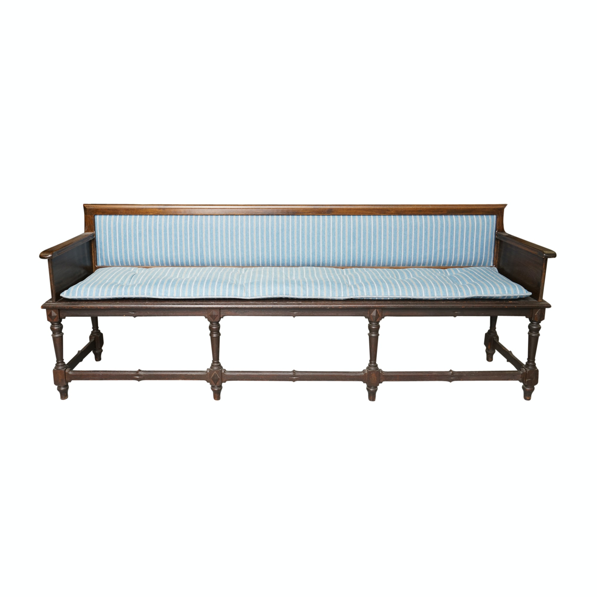 Vintage English Revival Style Oak Bench