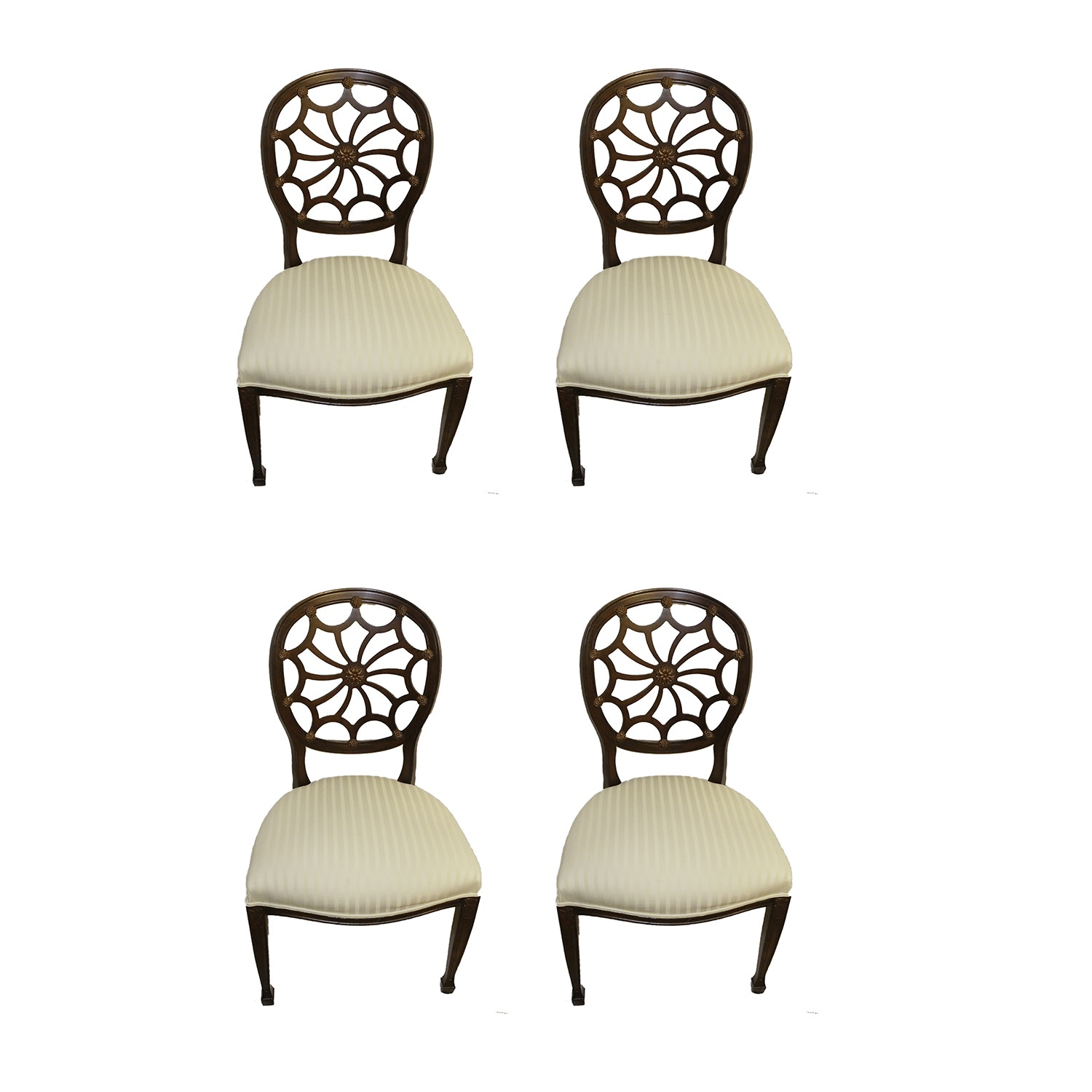 Set of Hepplewhite Style Spider Web Dining Chairs