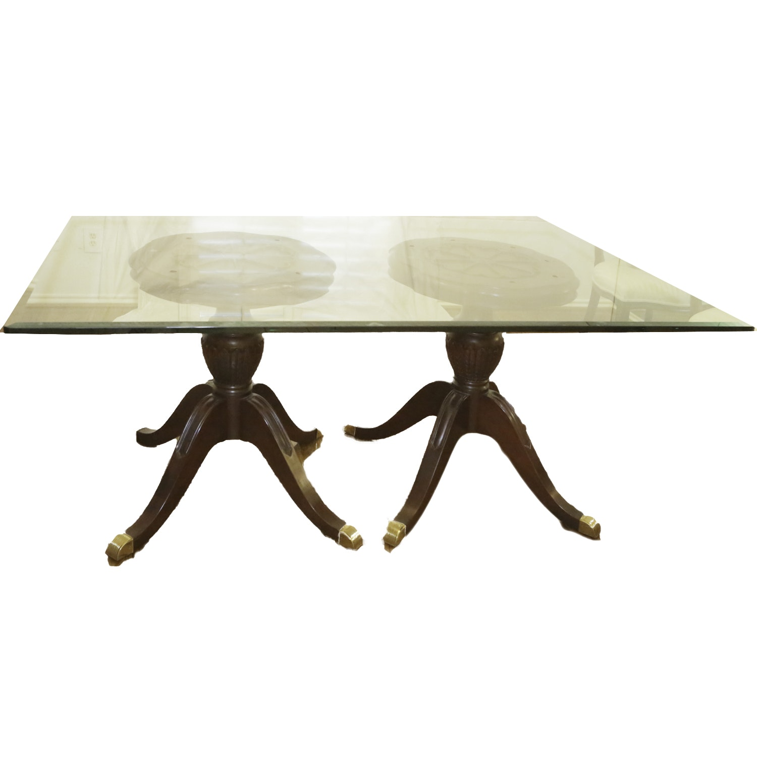 Federal Style Glass Top Dining Table