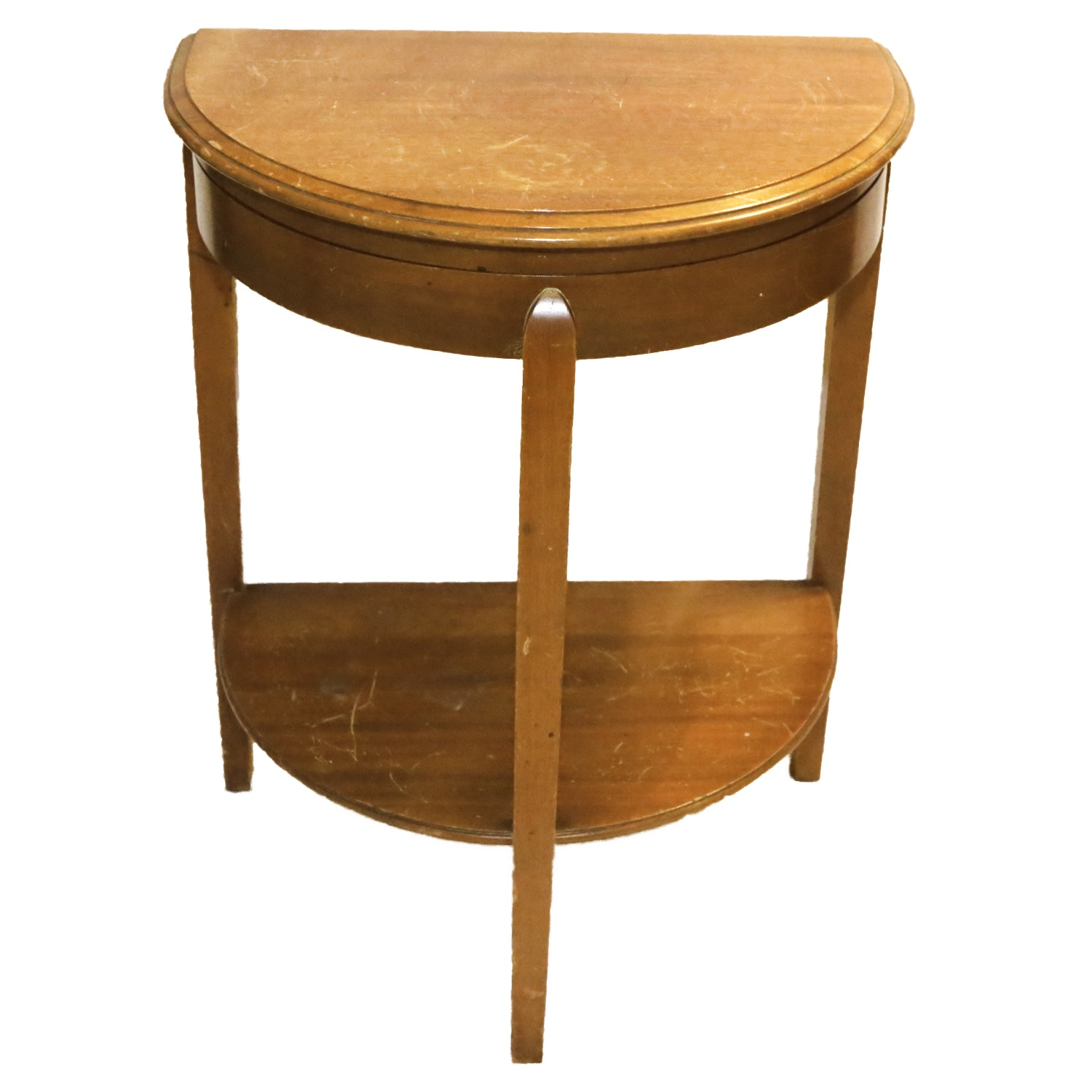 Vintage Mahogany Demilune Table with Flatware Storage