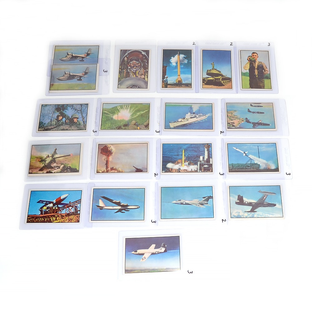 "Nineteen 1954 Bowman ""Power For Peace"" Military Trading Cards"