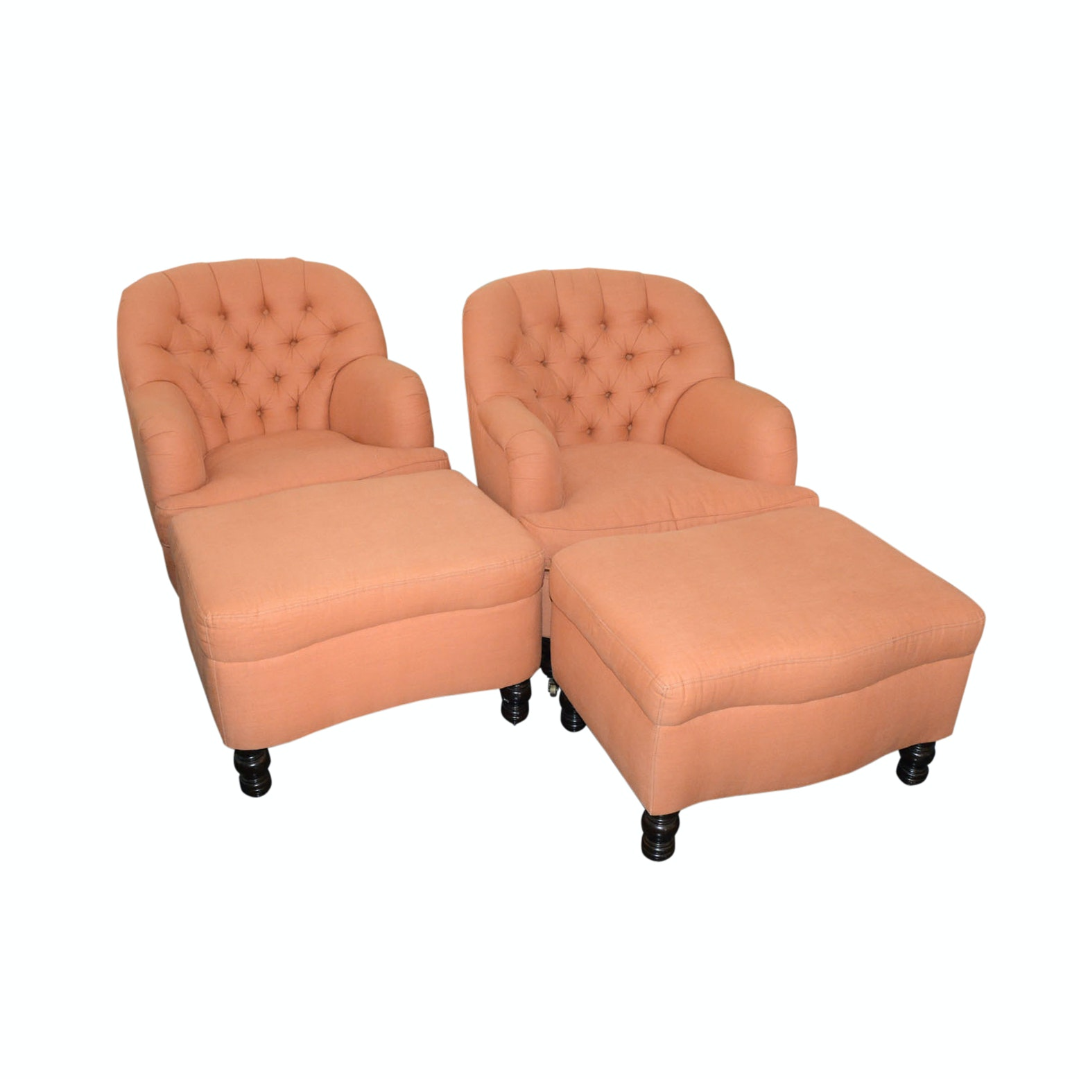 Pair of Lounge Chairs with Ottomans by Cisco Brothers