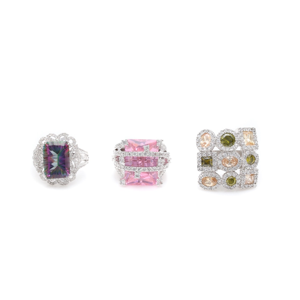 Three Sterling Silver Rings with Mystic Topaz, White Sapphire and Cubic Zirconia