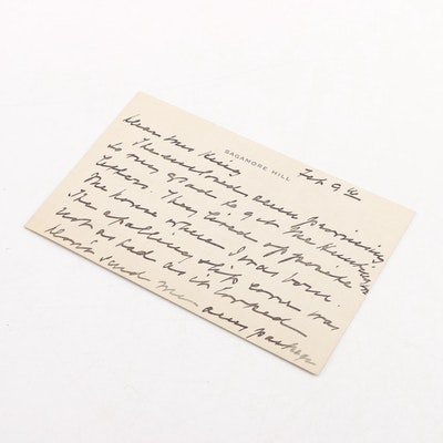 1916 Handwritten Note from Mrs. Edith Roosevelt on Sagamore Hill Card