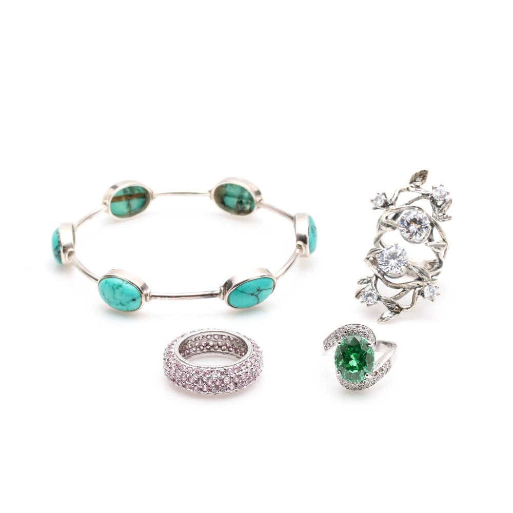 Sterling Silver and Cubic Zirconia Rings and Sterling Silver Magnesite Bracelet