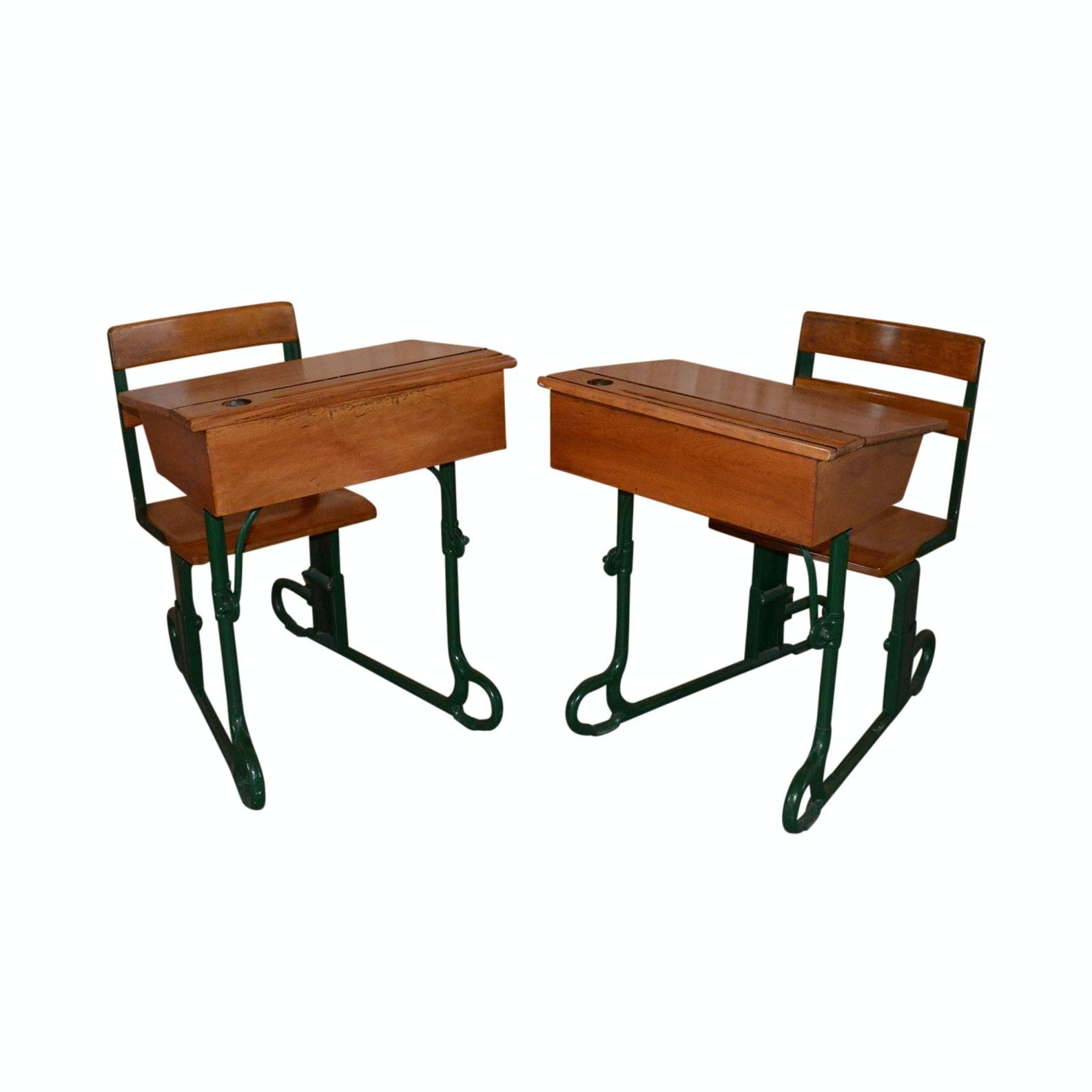 Pair of Vintage Metal and Maple School Desks