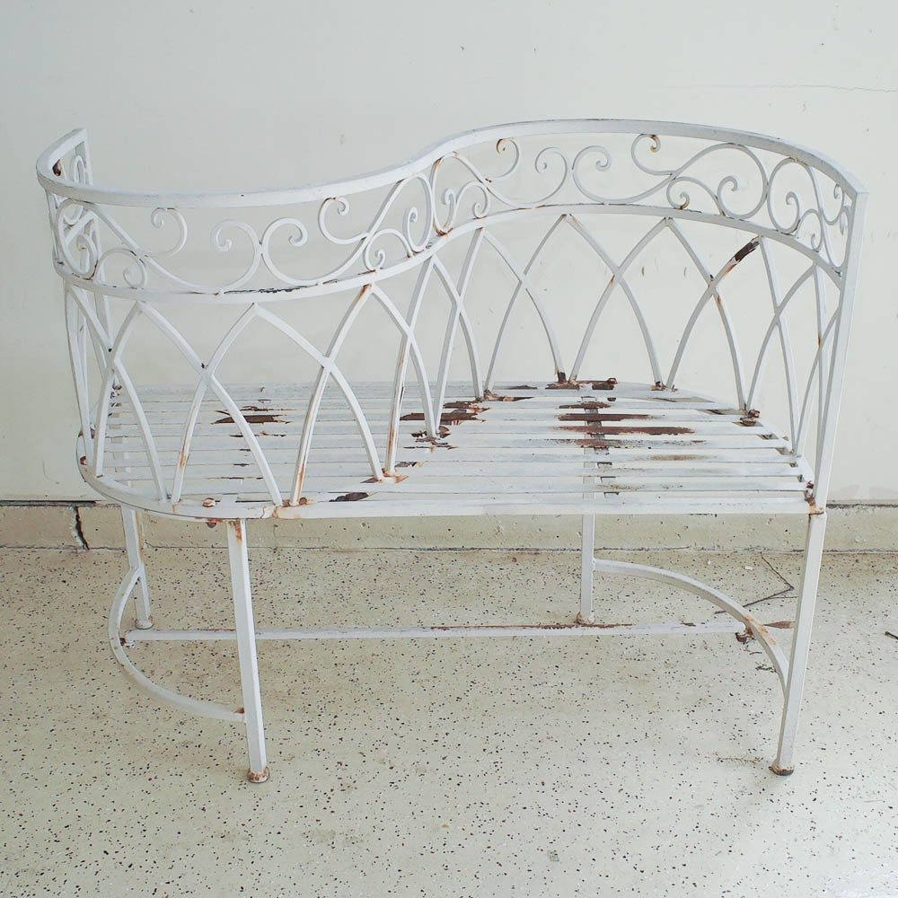 Wrought Iron Gossip Bench