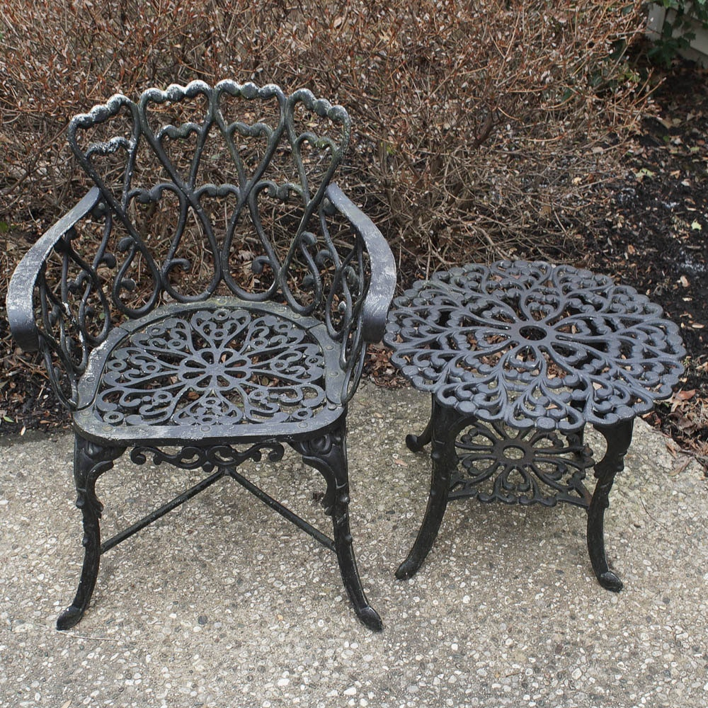 Victorian Style Cast Iron Chair and Side Table