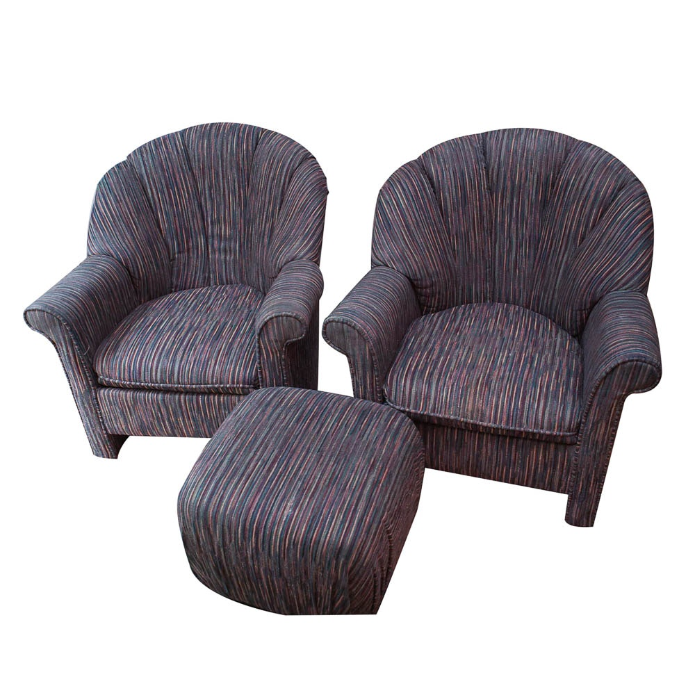 Pair of Contemporary Upholstered Club Chairs with Ottoman by Rowe Furniture