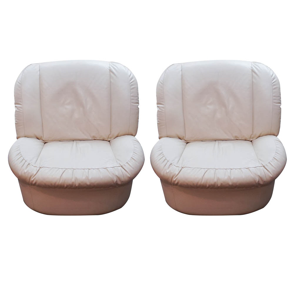 Pair of Modern Leather Club Chairs