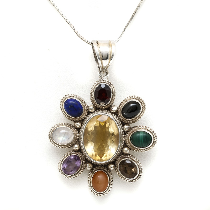 Sarah coventry sterling silver gemstone pendant necklace ebth sarah coventry sterling silver gemstone pendant necklace aloadofball