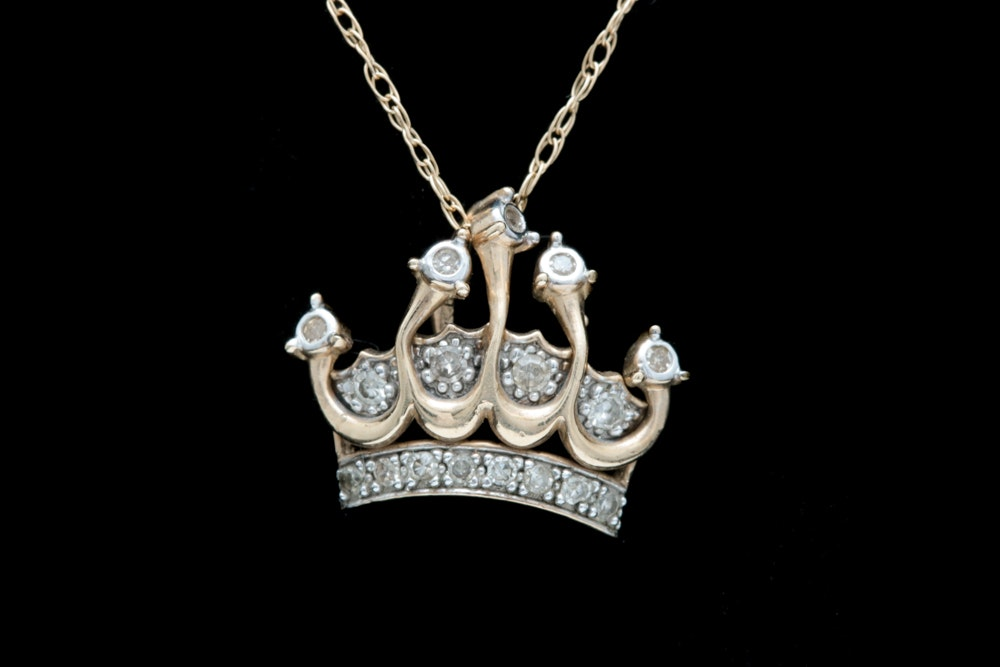 10K Yellow Gold and Diamond Crown Pendant with Chain