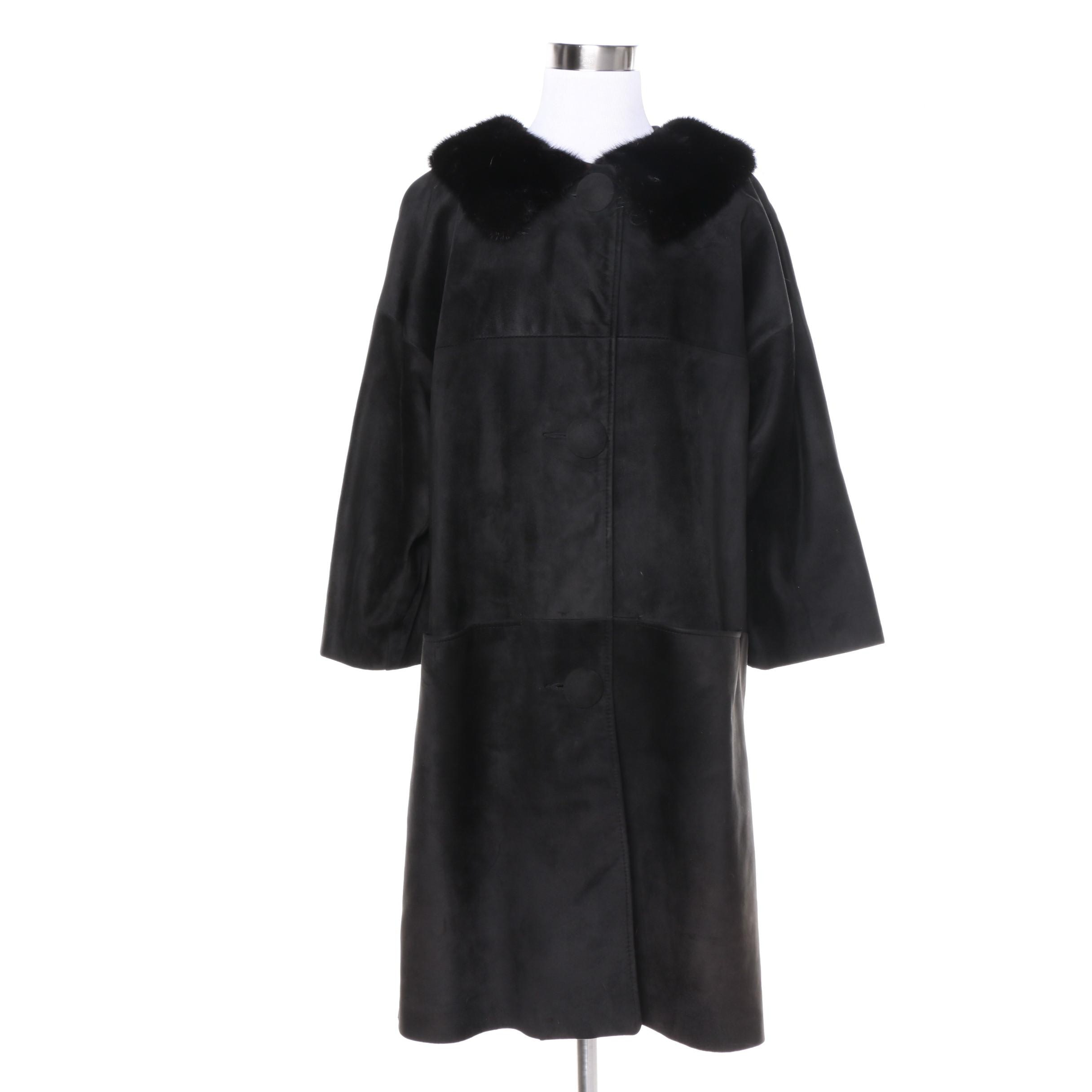 Women's Vintage Black Suede Coat with Black Mink Fur Collar