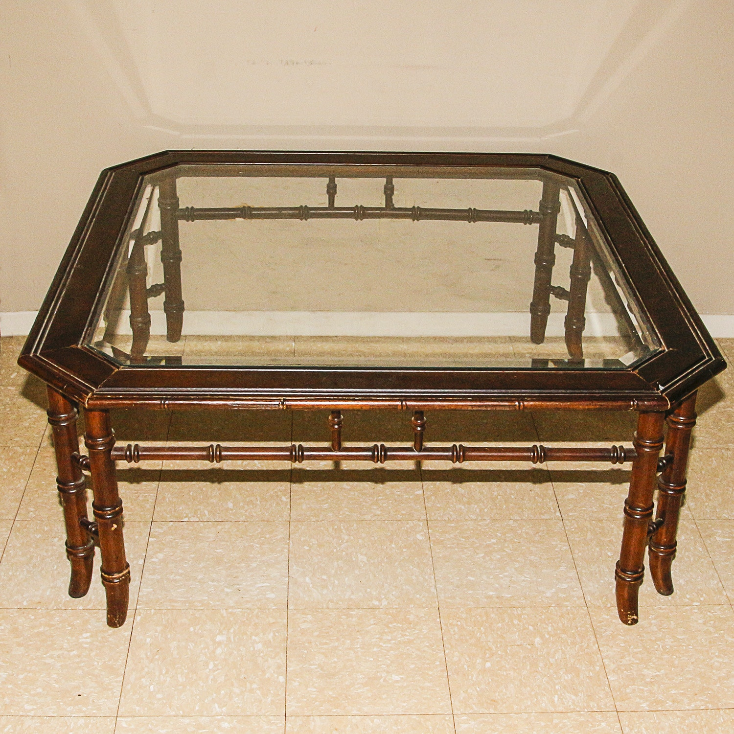 Mahogany Finished Glass Topped Coffee Table