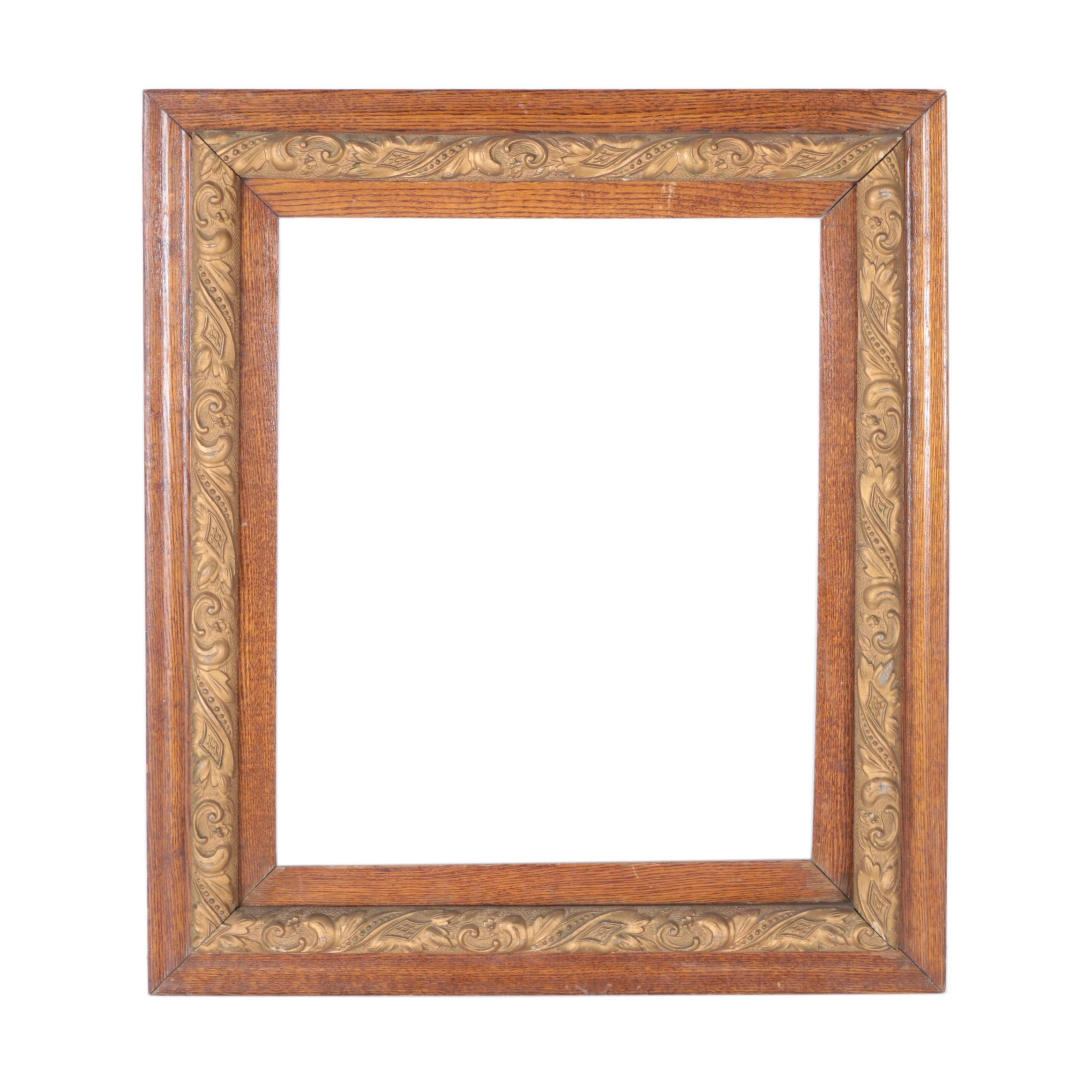 Vintage Oak Picture Frame with Gold-Tone Detail