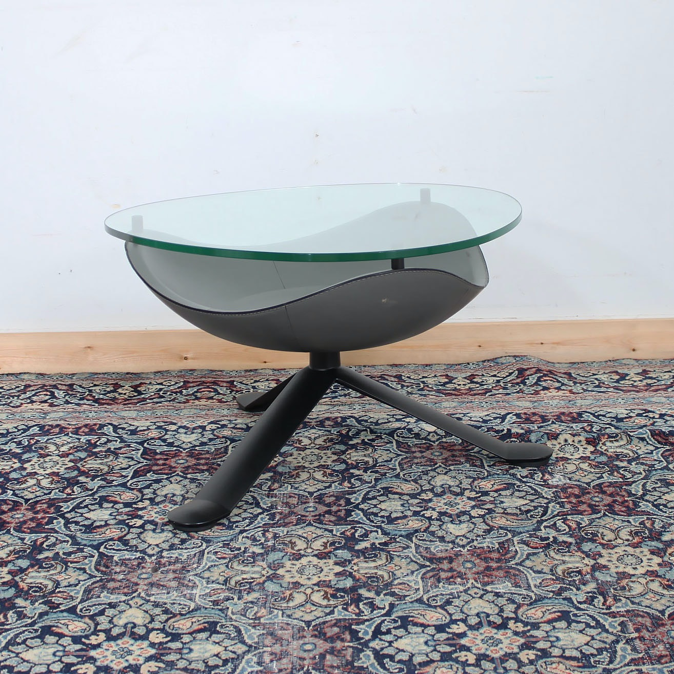 Modernist Matteo Grassi Italian Glass Top Accent Table