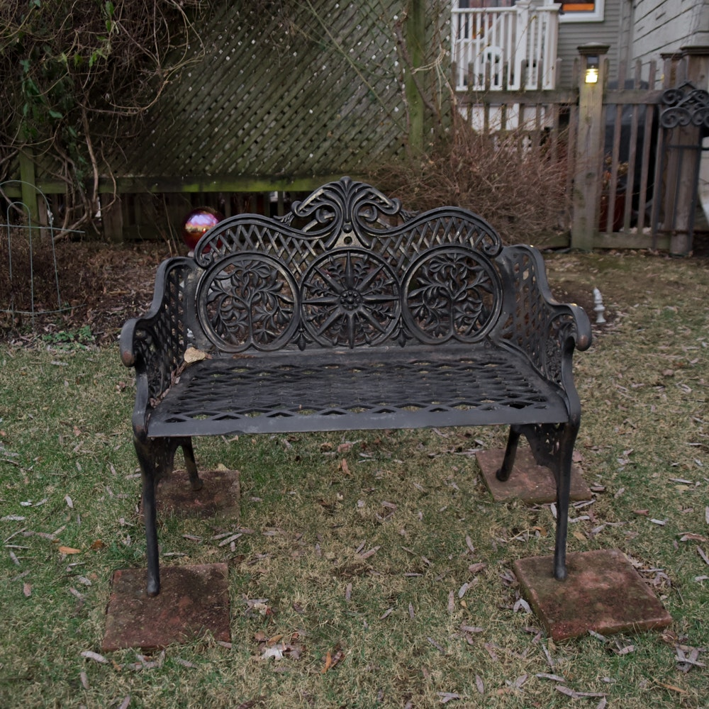 Wrought Iron Outdoor Bench