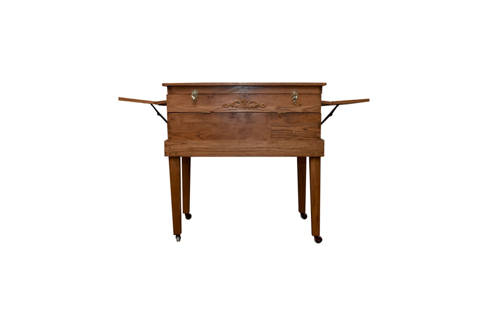 Hand-Crafted Oak Chest-on-Stand