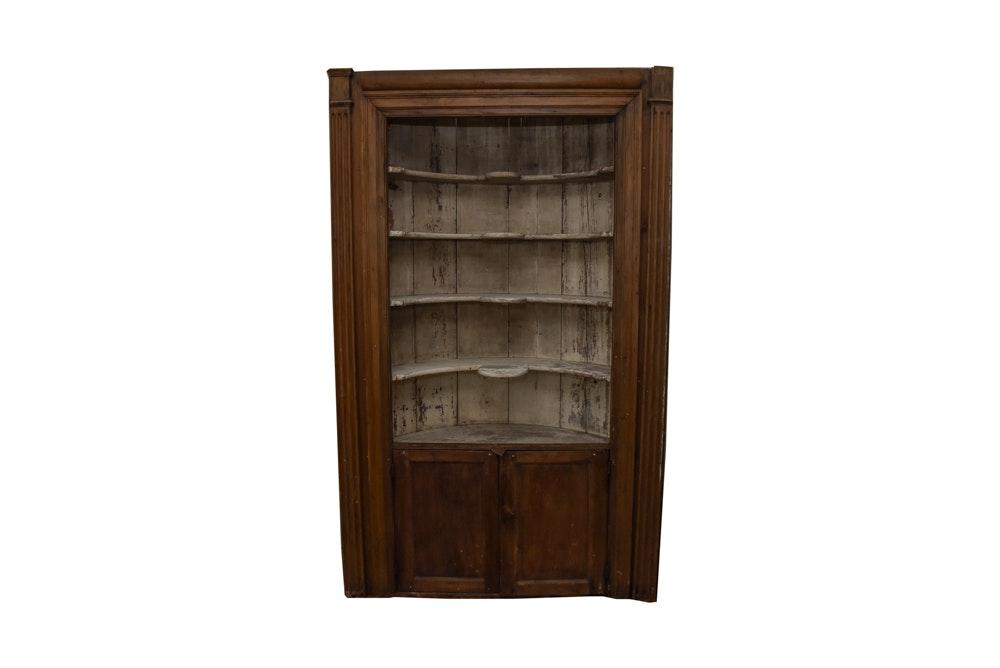 Early Federal Butternut Barrel-Back Cupboard