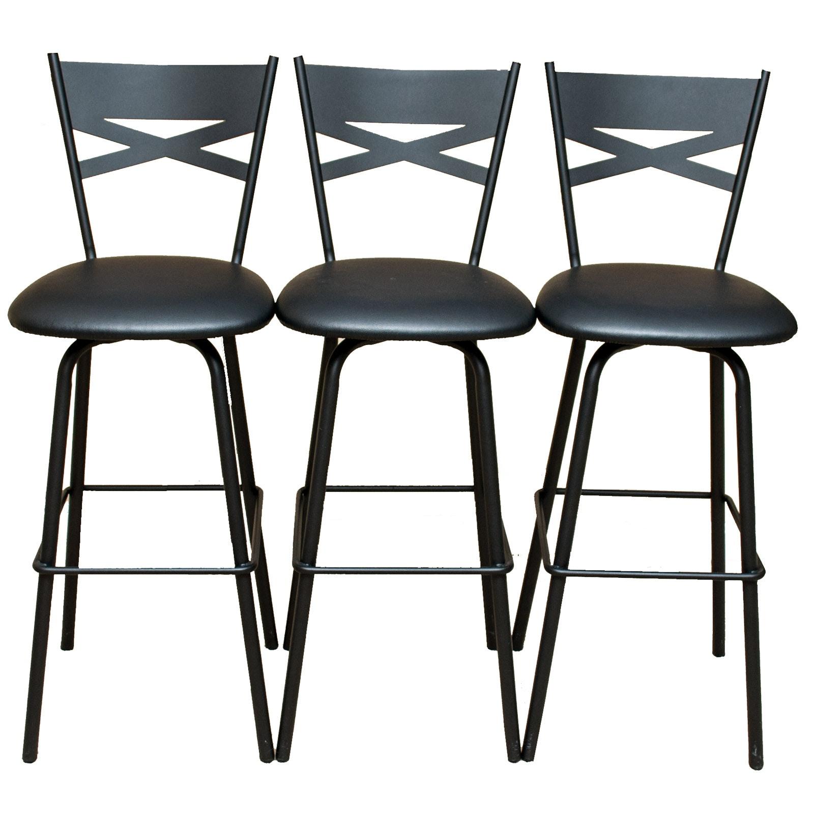 Trio of Black Bar Stools