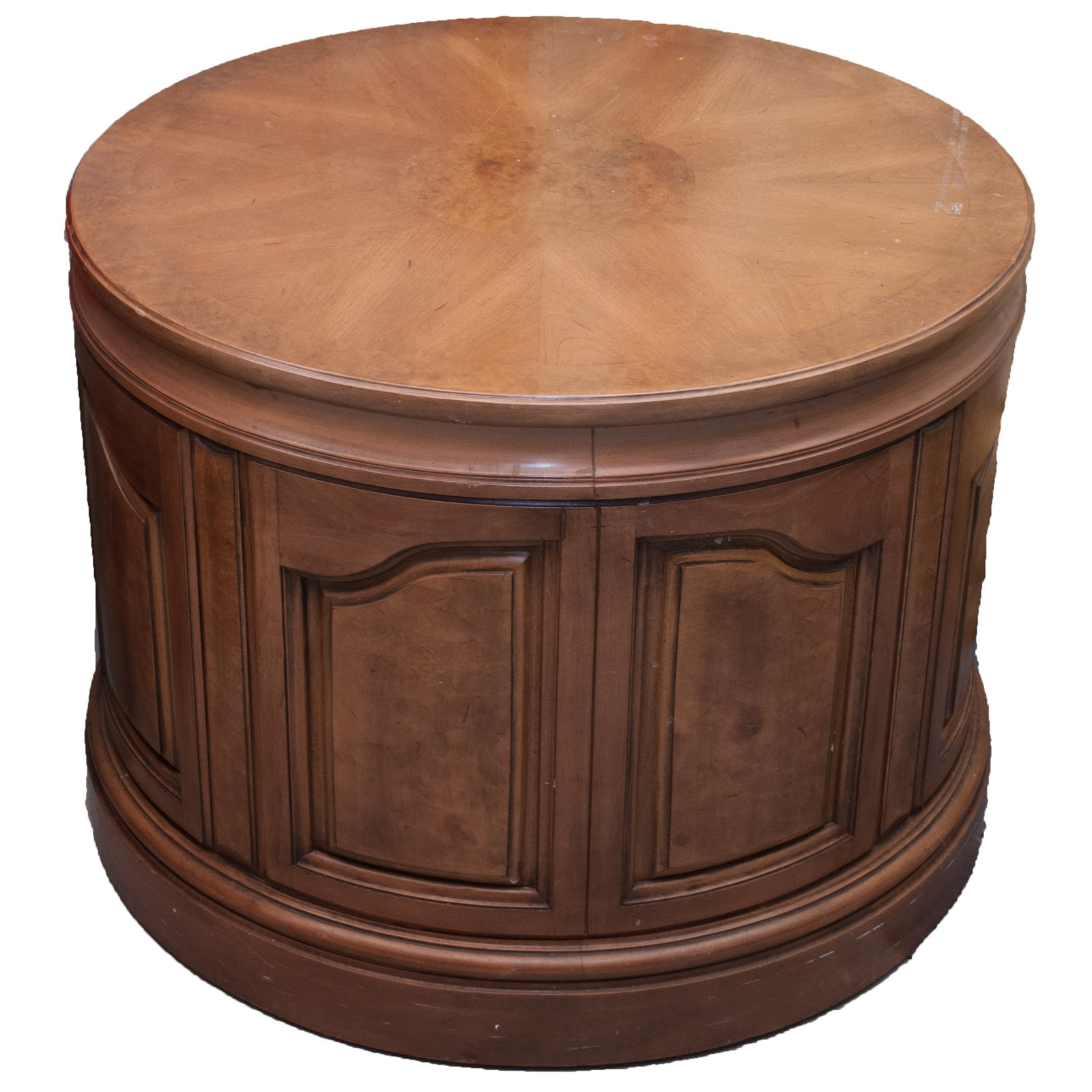 Drum Style Wood Center Table with Storage Cabinet