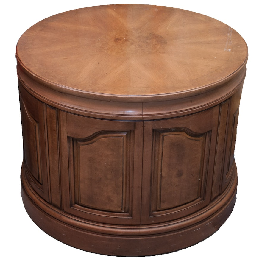 Amazing Drum Style Wood Center Table With Storage Cabinet Download Free Architecture Designs Intelgarnamadebymaigaardcom