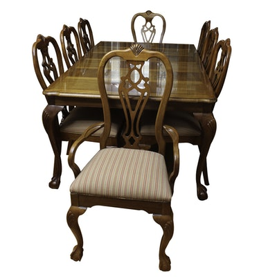 Queen Anne Style Dining Table And Eight Chairs