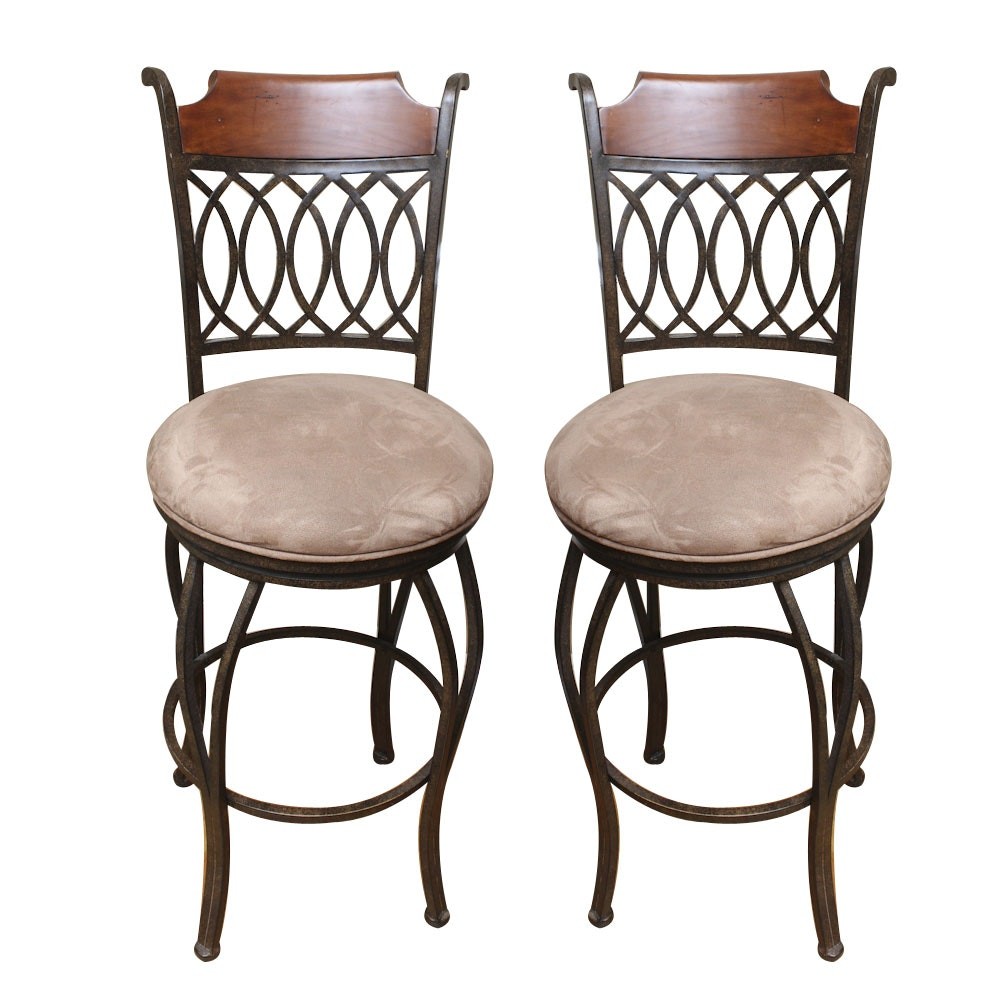 Pair of Wood and Metal Bar Stools