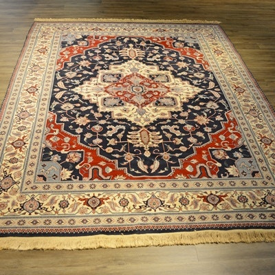 Hand-Knotted Persian Heriz Design Wool Area Rug