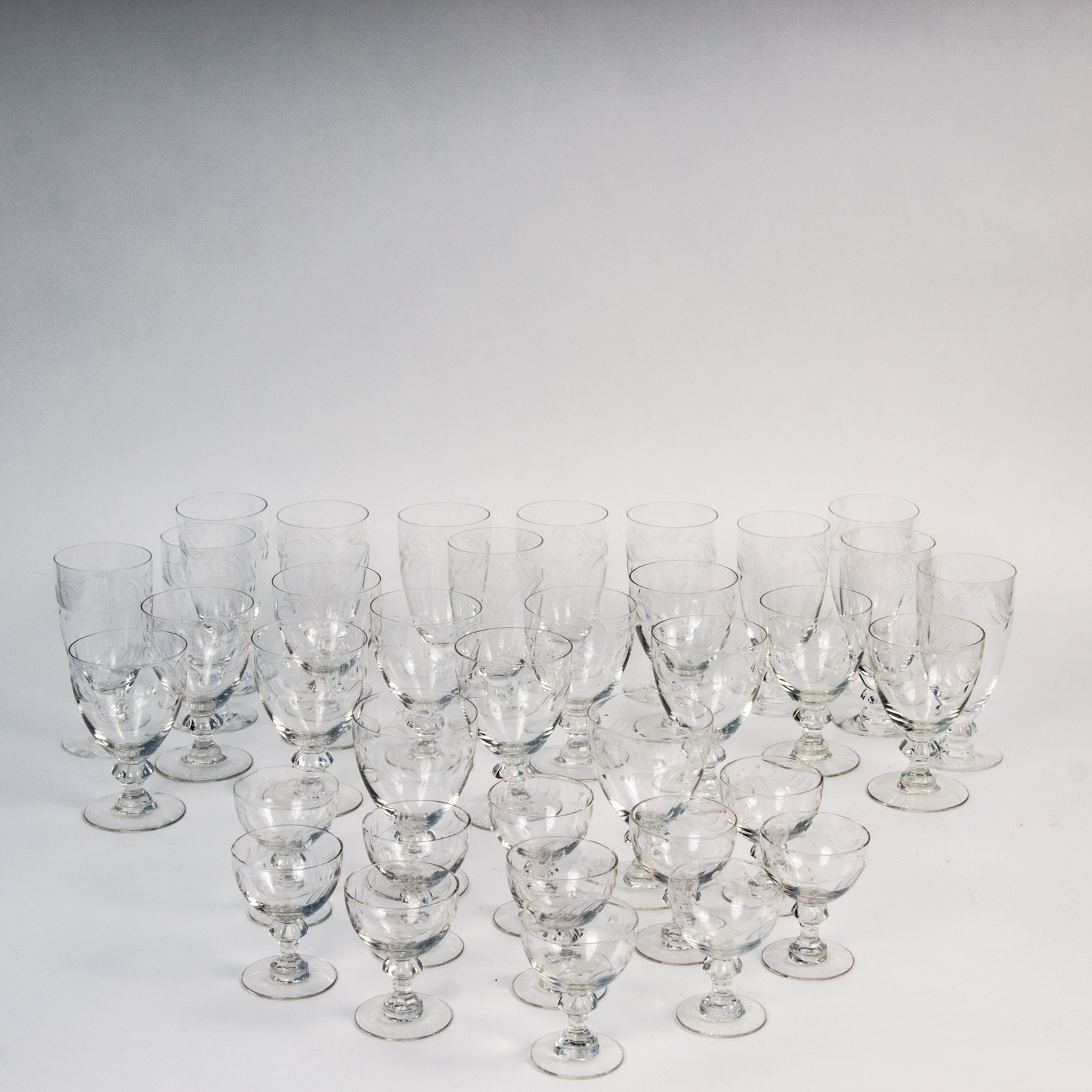 "Set of Heisey & Co. ""Arcadia"" Patterned Glassware"
