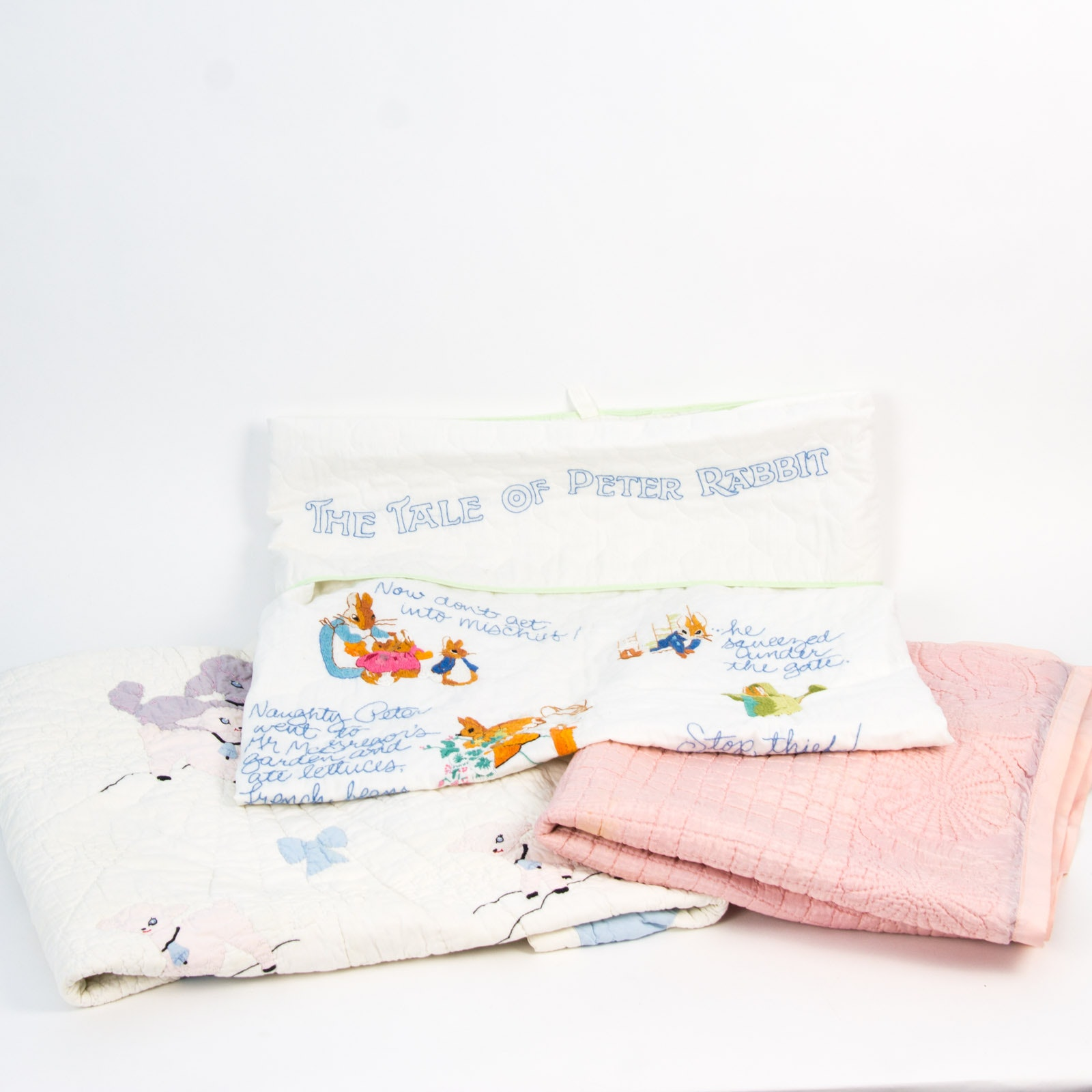 Three Vintage Handmade Embroidered Quilts