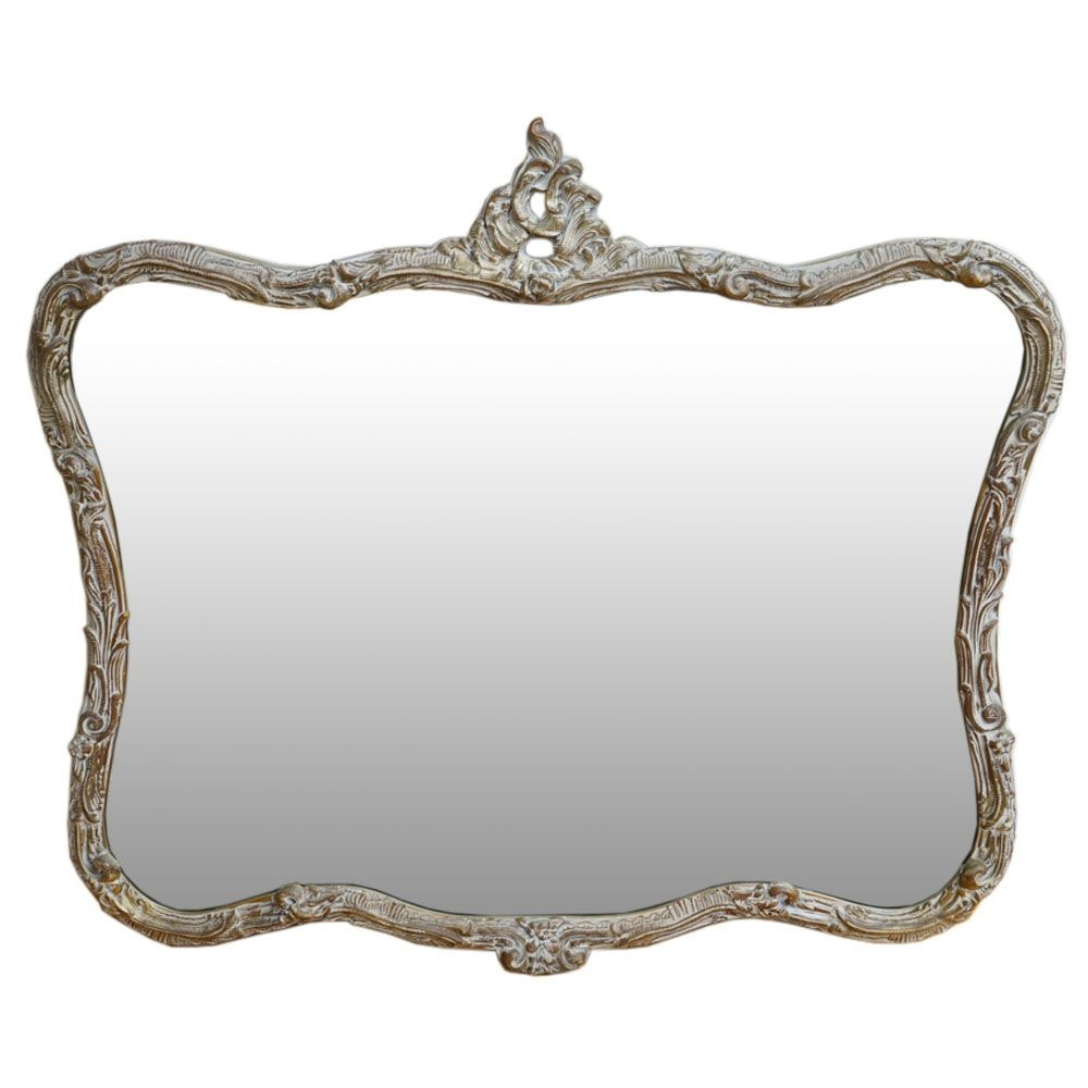 Rococco Style Wall Mirror With Distressed Gold Tone Finish