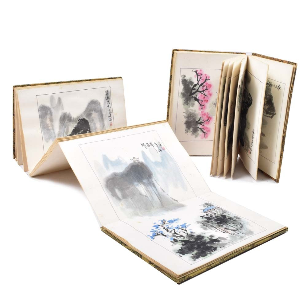 Vintage Pair of Chinese Watercolor Travelogues