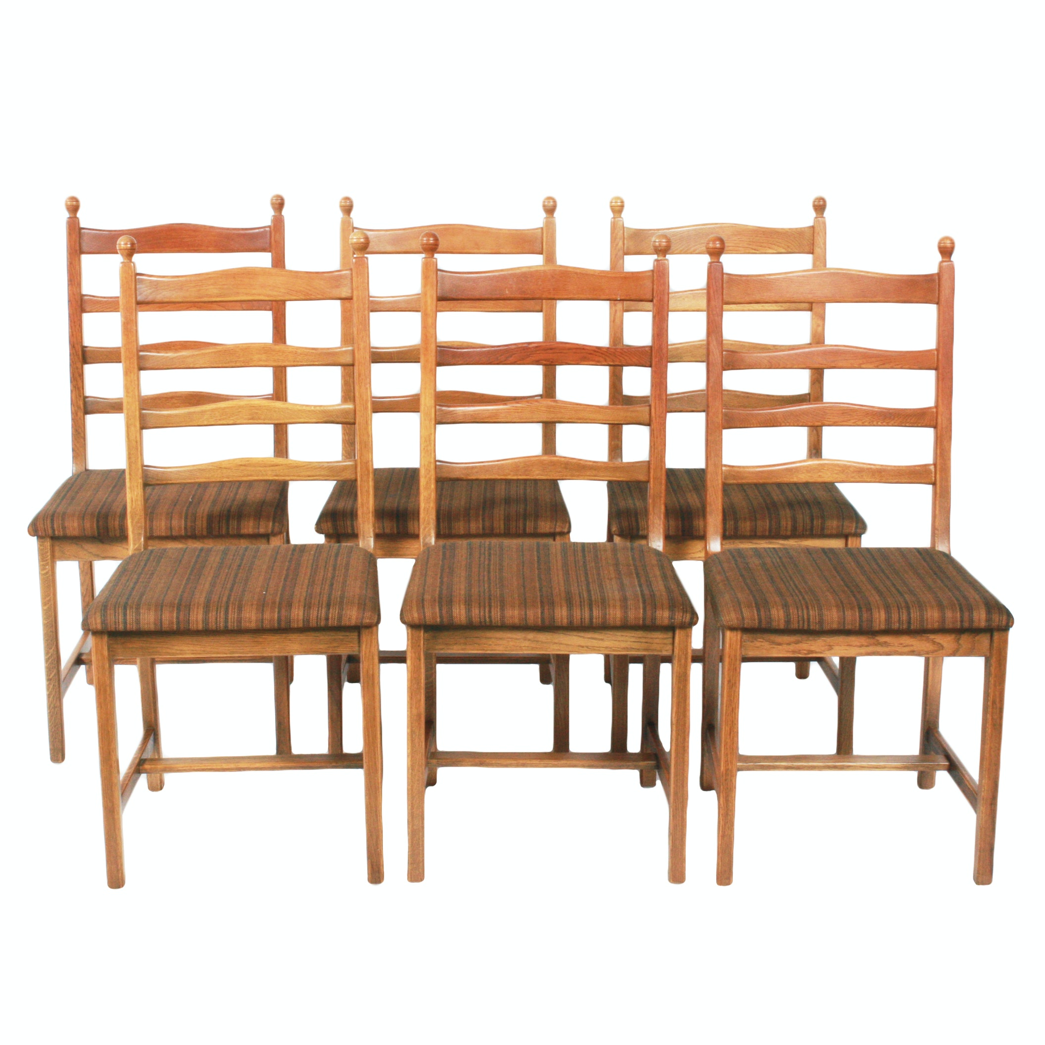 Six Oak Ladder Back Dining Chairs