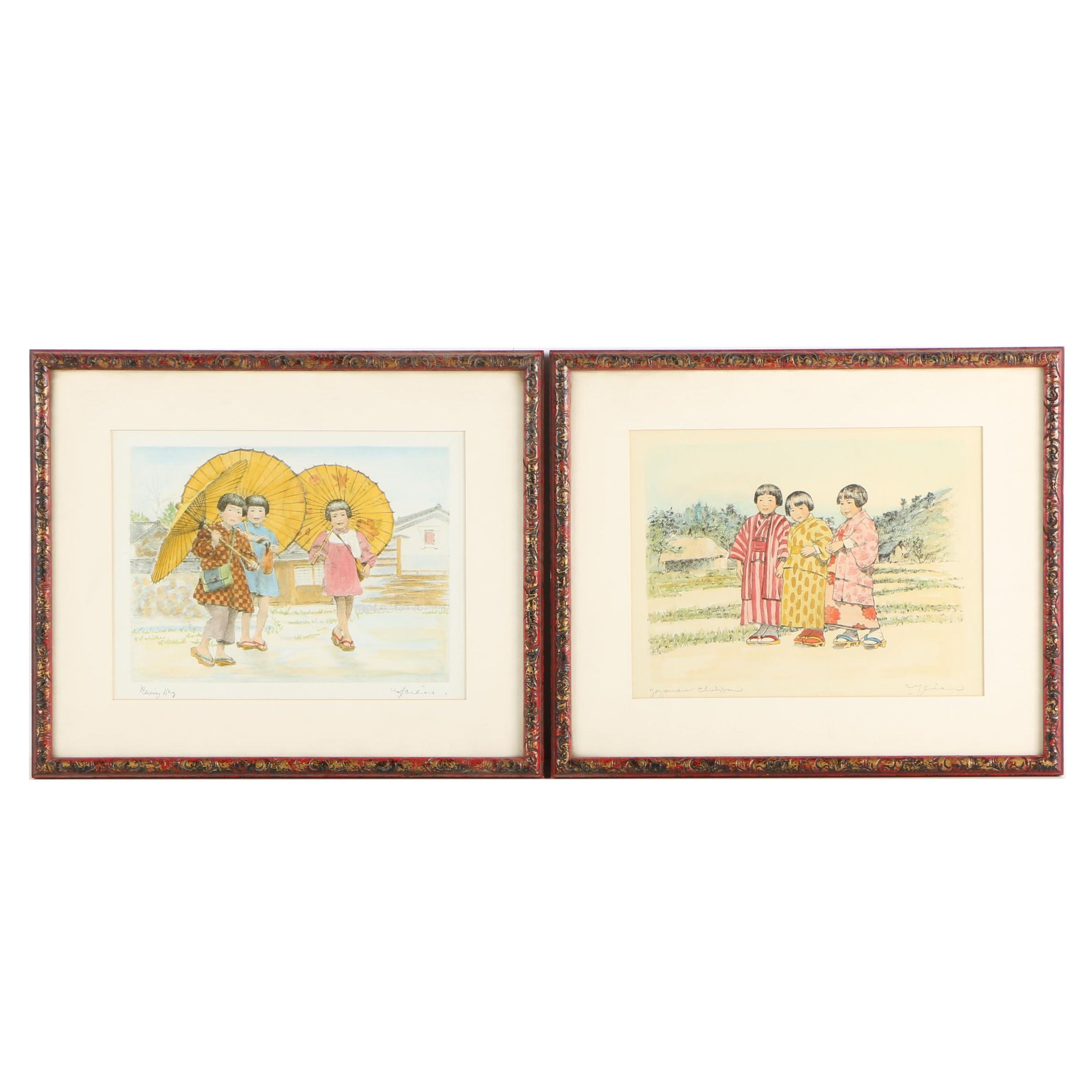 """Hand-Colored Lithographs """"Rainy Day"""" and """"Japanese Children"""""""