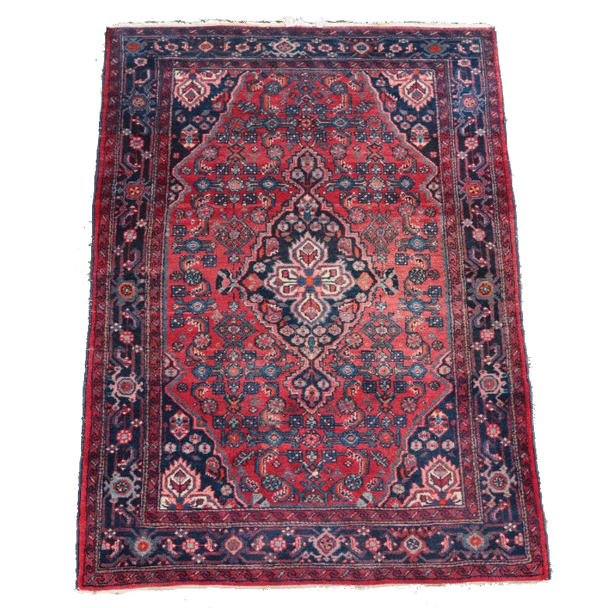 Hand Knotted Persian Wool Area Rug Ebth: Hand-Knotted Persian Bijar Area Rug