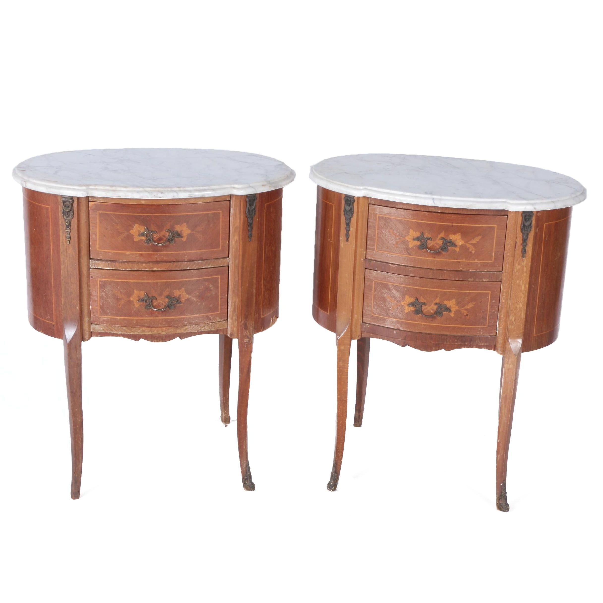 Pair of Louis XV Style End Tables with Marble Tops