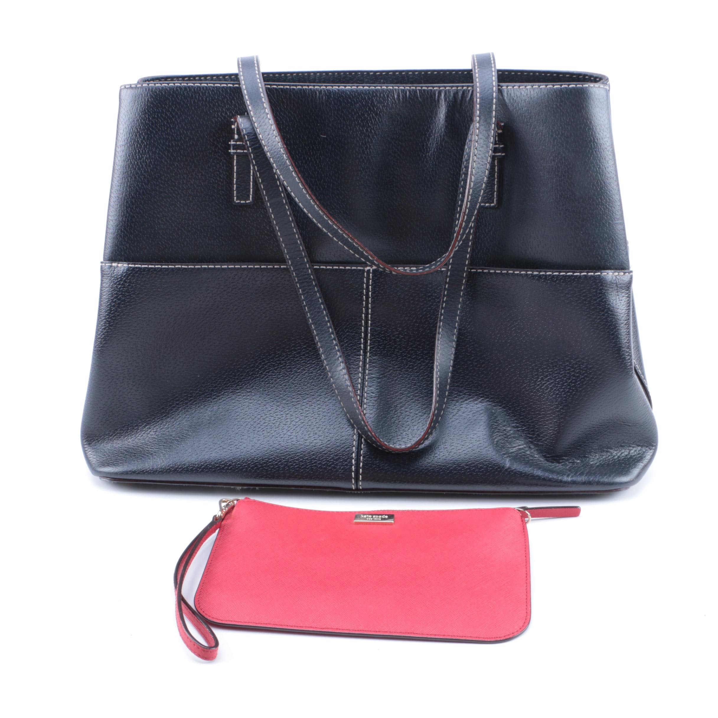 Kate Spade New York Black Leather Tote and Kate Spade Pink Wristlet