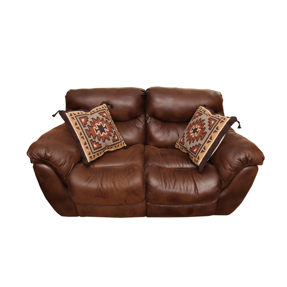 Faux Brown Leather Overstuffed Loveseat