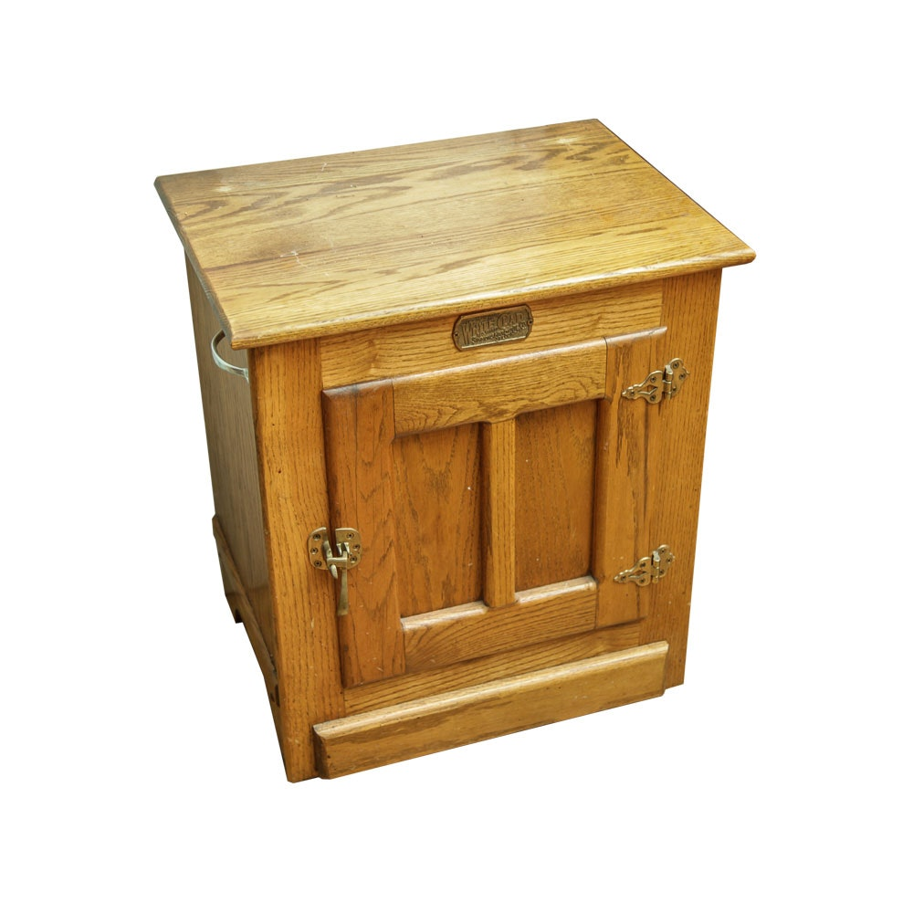Vintage Oak Reproduction Ice Box by White Clad