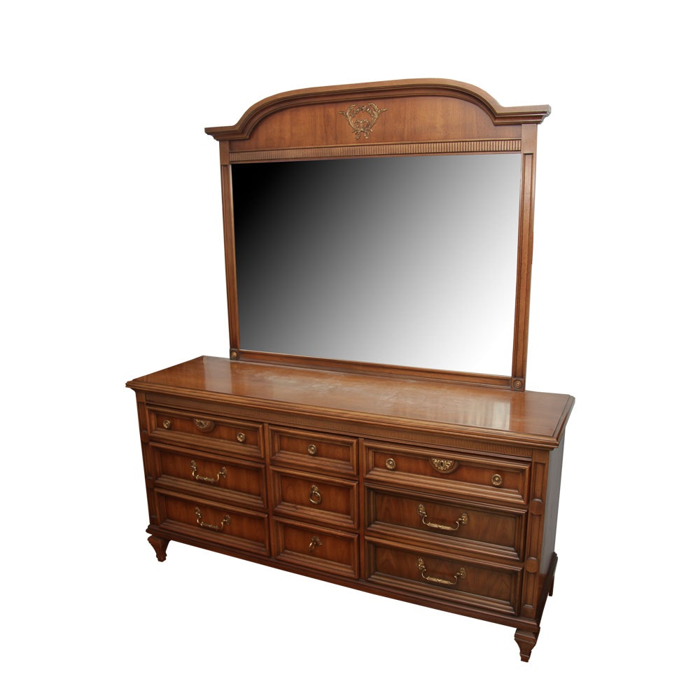 Vintage Neoclassical Style Dresser and Mirror by United